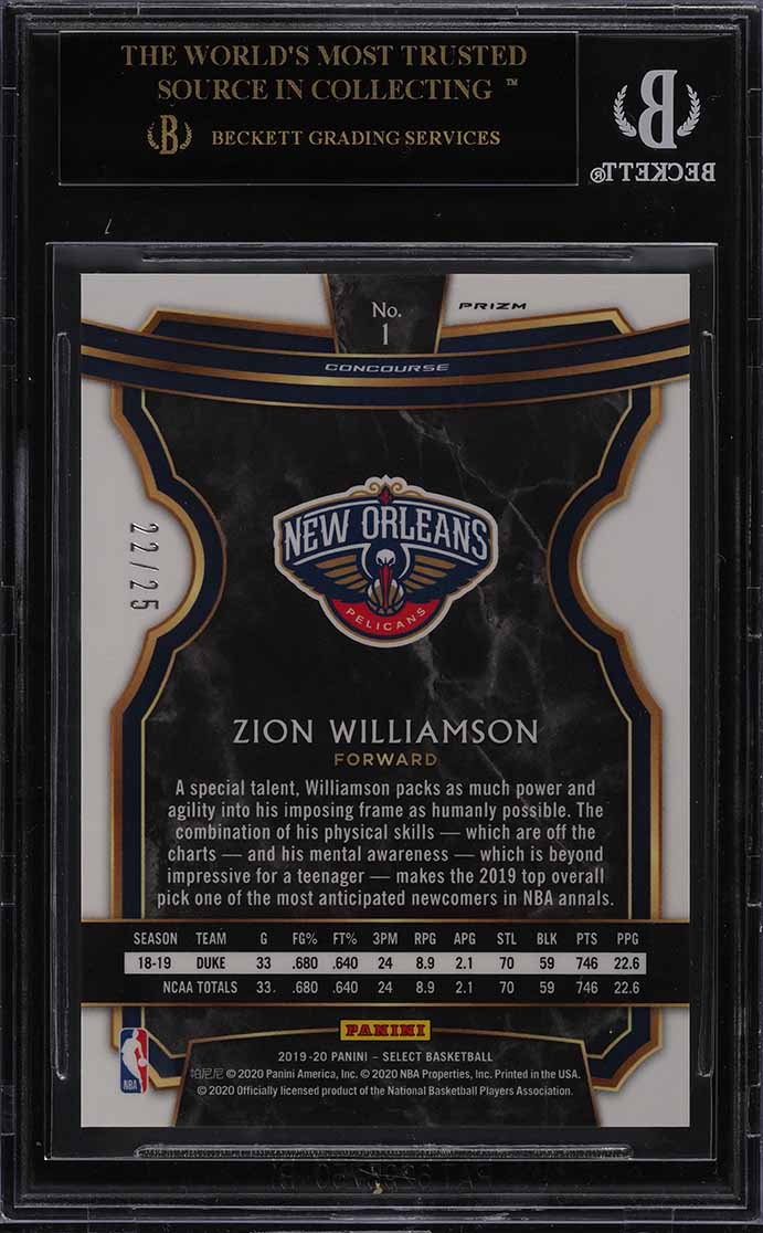 2019 Select Prizms Disco Blue Zion Williamson ROOKIE RC /25 #1 BGS 10 (PWCC) - Image 2
