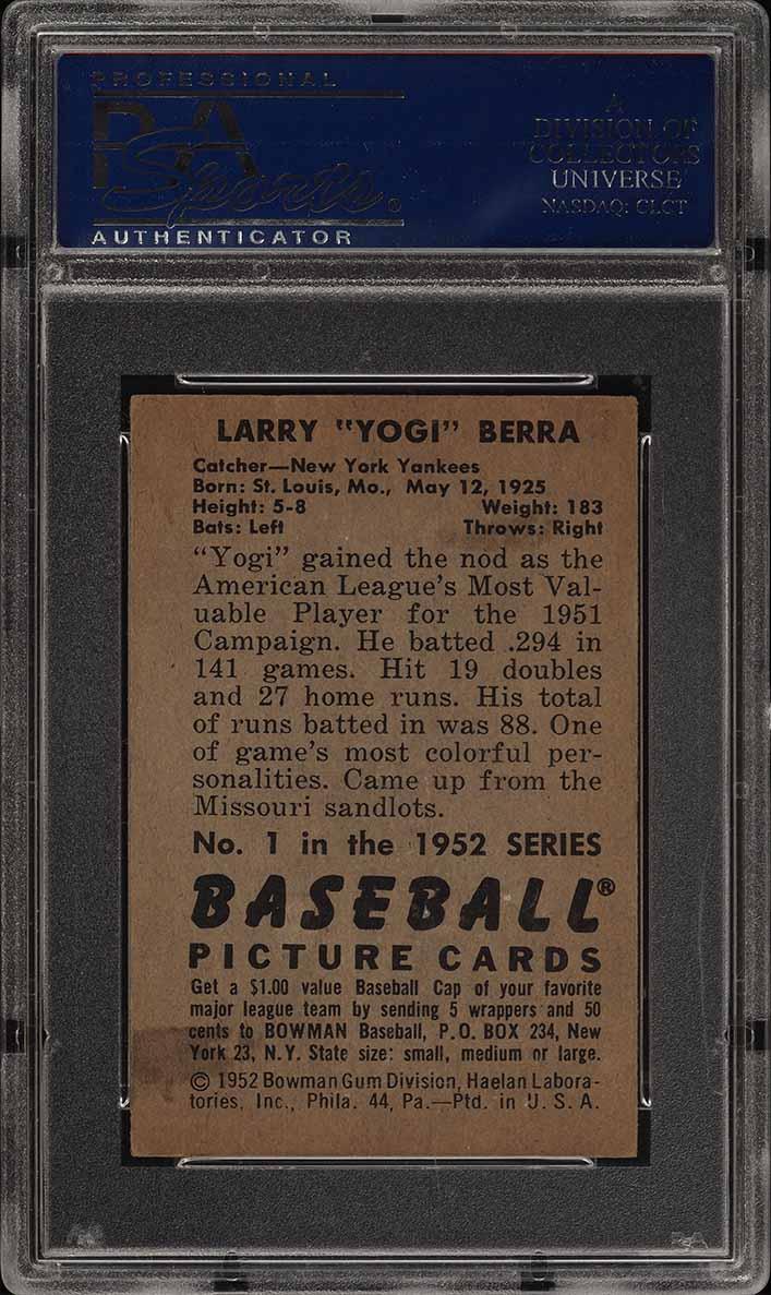 1952 Bowman SETBREAK Yogi Berra #1 PSA 6 EXMT (PWCC) - Image 2