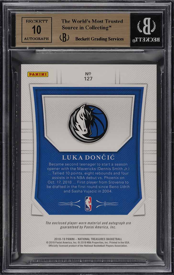 2018 National Treasures Luka Doncic ROOKIE RC AUTO PATCH /99 #127 BGS 9.5 (PWCC) - Image 2