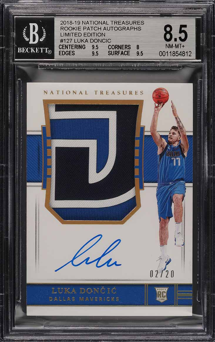 2018 National Treasures Limited Luka Doncic ROOKIE PATCH AUTO /20 BGS 8.5 (PWCC) - Image 1