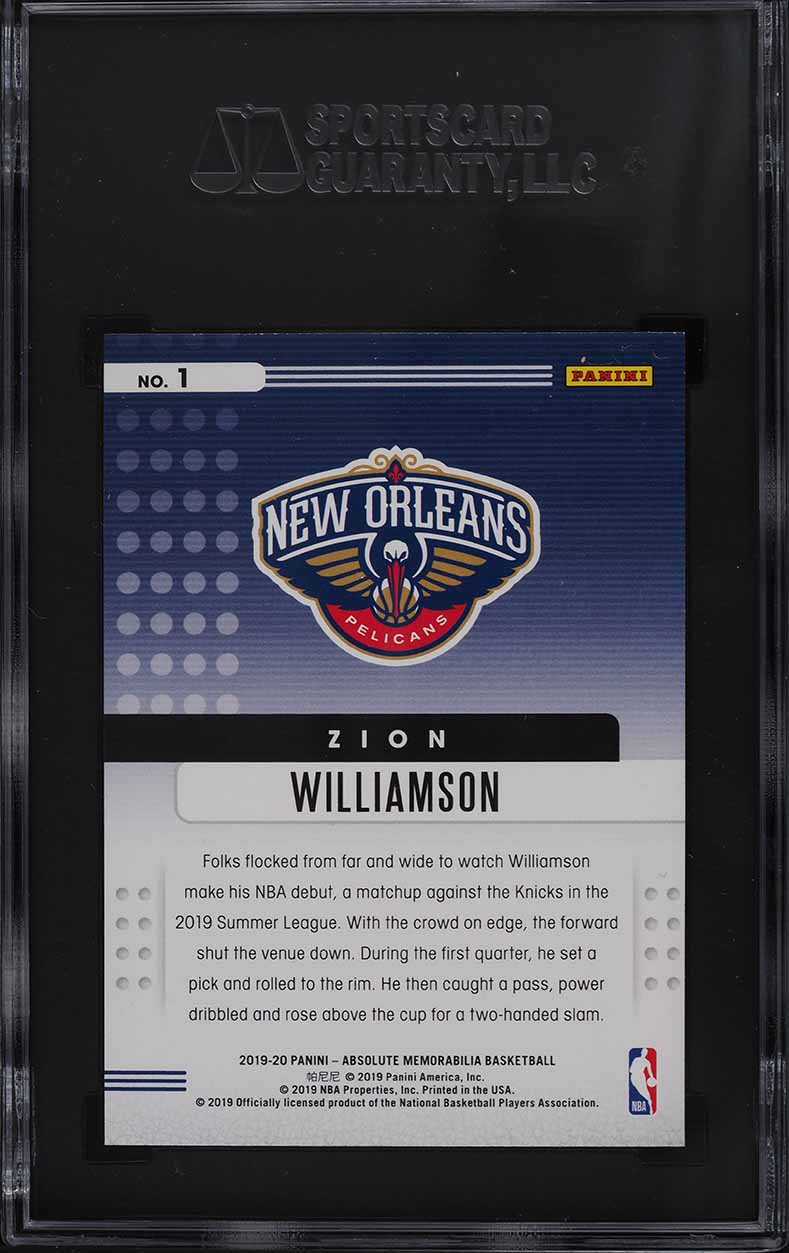 2019 Absolute Memorabilia Yellow Zion Williamson ROOKIE RC #1 SGC 10 GEM MINT - Image 2