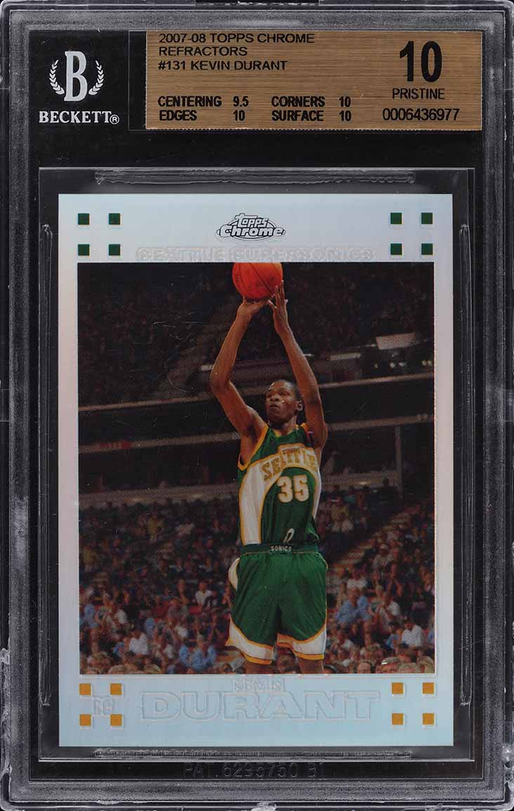 2007 Topps Chrome Refractor Kevin Durant RC /1499 #131 BGS 10 PRISTINE - Image 1