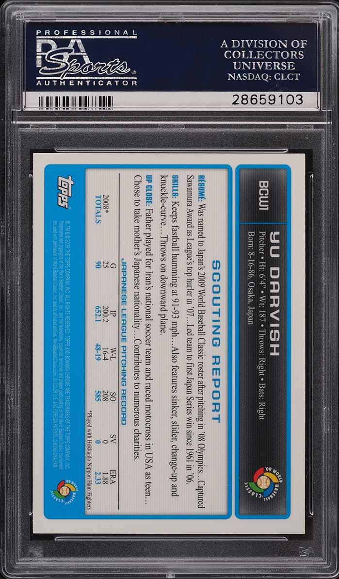 2009 Bowman Chrome WBC Prospect Yu Darvish ROOKIE RC PSA 10 - Image 2