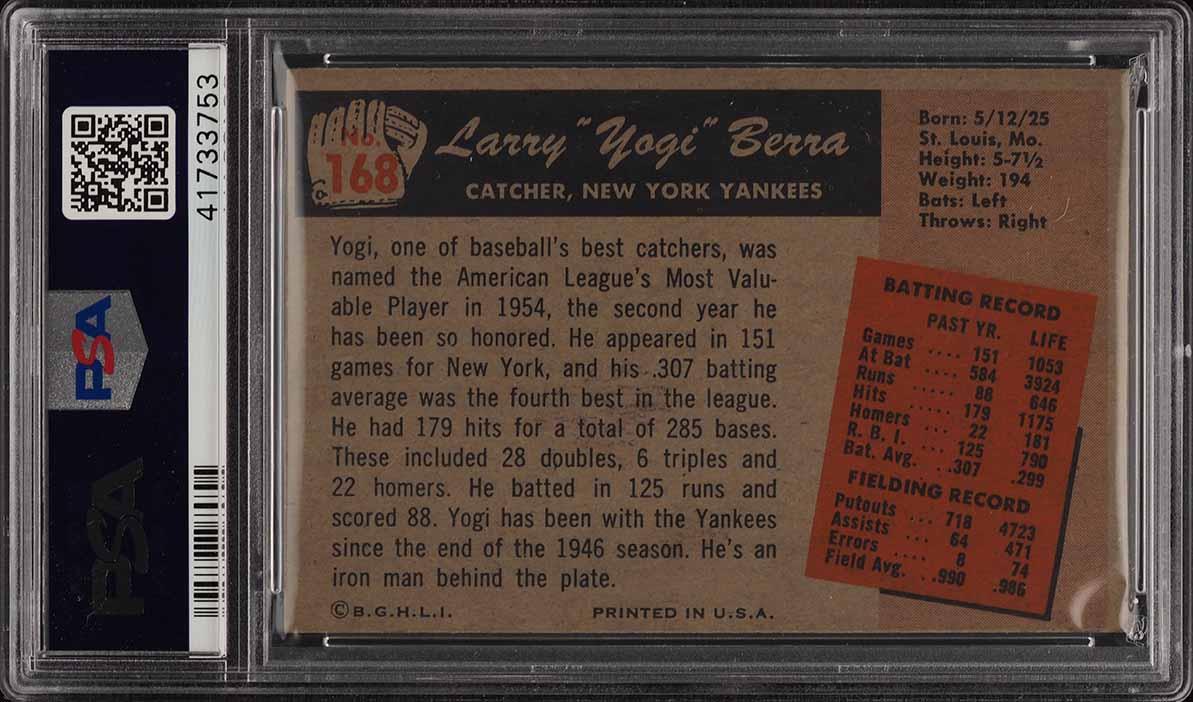 1955 Bowman Yogi Berra #168 PSA 7 NRMT (PWCC) - Image 2