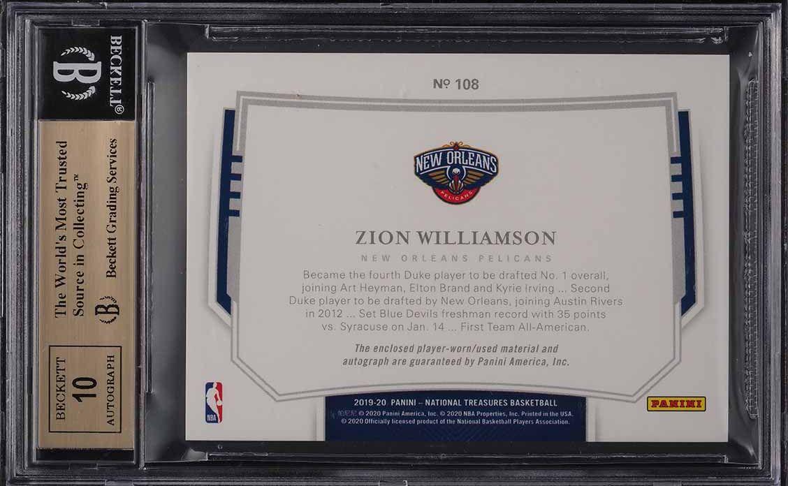 2019 National Treasures Bronze Zion Williamson ROOKIE RC PATCH AUTO /49 BGS 9.5 - Image 2