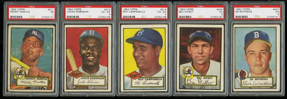 1952 Topps Lo-Mid Grd COMPLETE SET Mays Mathews Berra Robinson Mantle PSA (PWCC) - Image 1