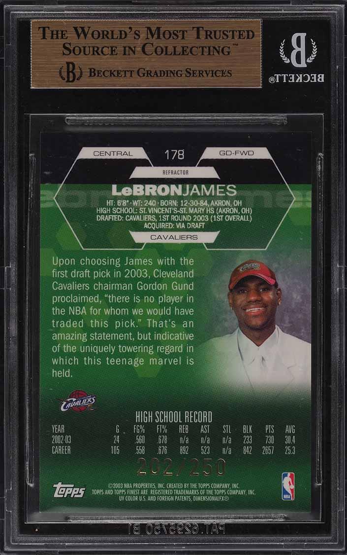 2002 Finest Refractor LeBron James ROOKIE RC /250 #178 BGS 9.5 GEM MINT - Image 2