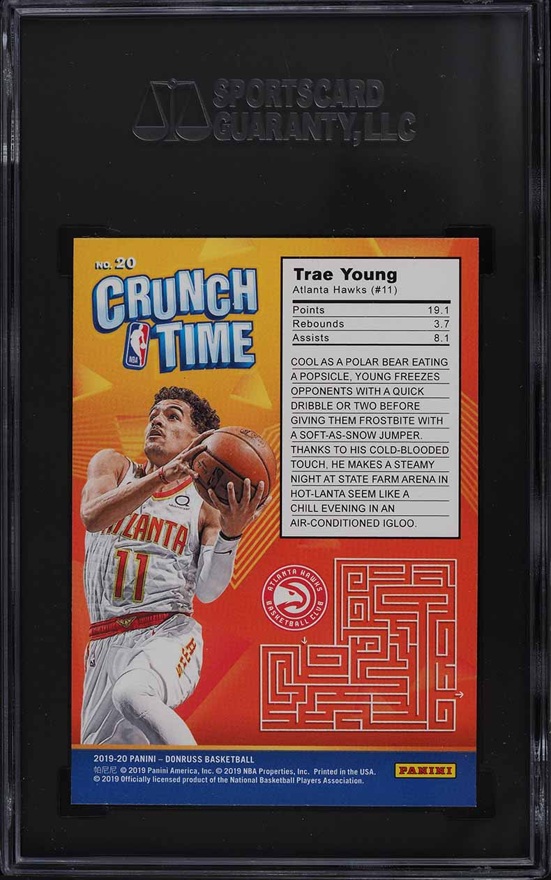 2019 Donruss Crunch Time Trae Young #20 SGC 9.5 MINT+ - Image 2