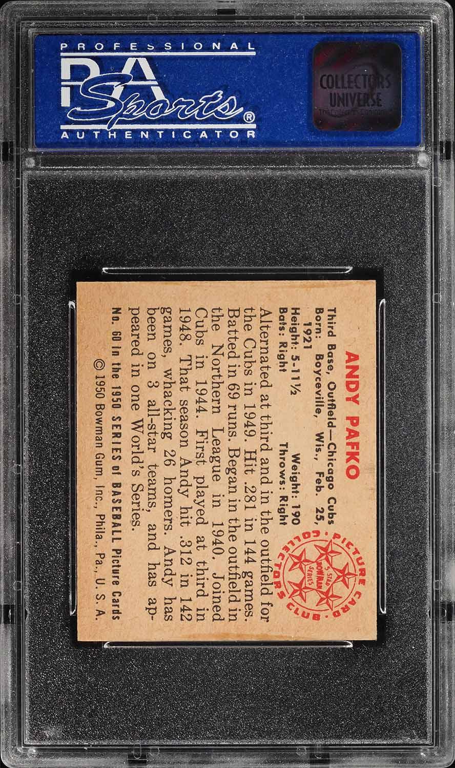 1950 Bowman Andy Pafko #60 PSA 8 NM-MT (PWCC) - Image 2