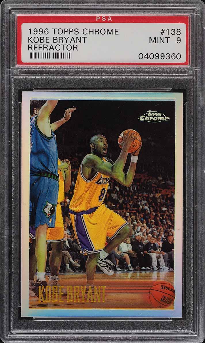 1996 Topps Chrome Refractor Kobe Bryant ROOKIE RC #138 PSA 9 MINT - Image 1