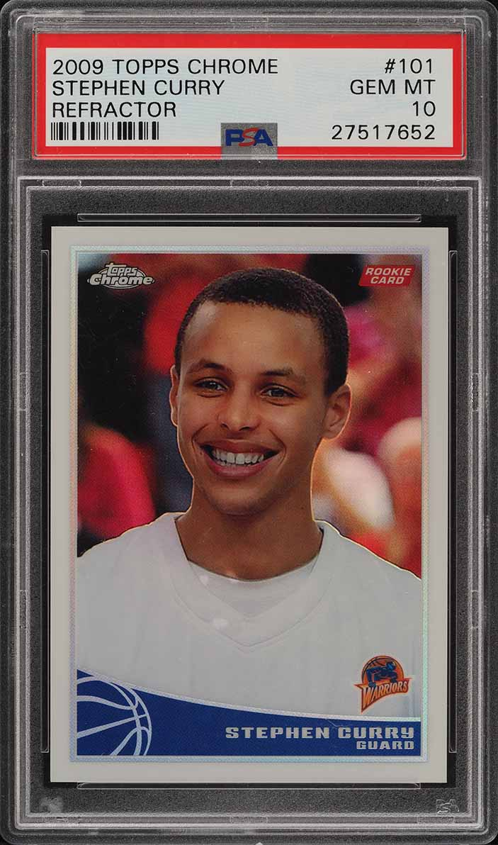 2009 Topps Chrome Refractor Stephen Curry ROOKIE RC /500 #101 PSA 10 GEM (PWCC) - Image 1