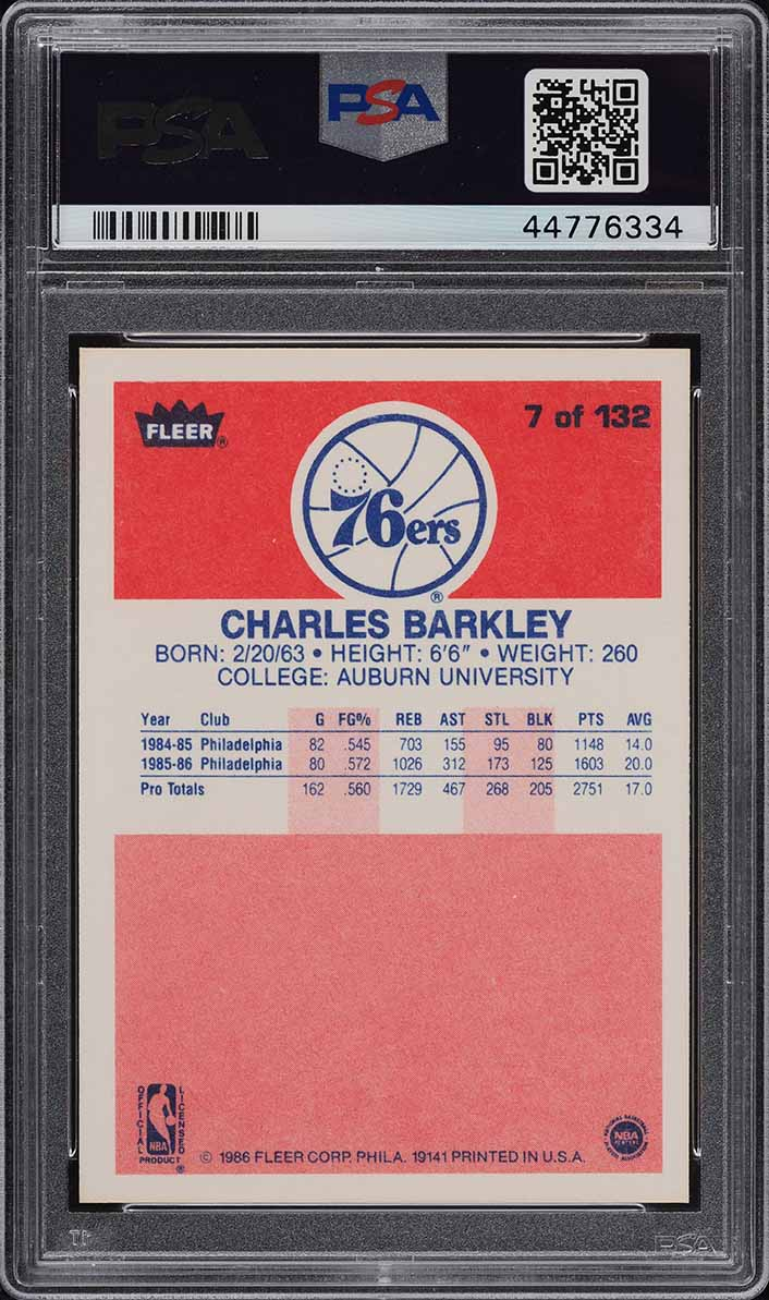 1986 Fleer Basketball Charles Barkley ROOKIE RC #7 PSA 10 GEM MINT (PWCC) - Image 2