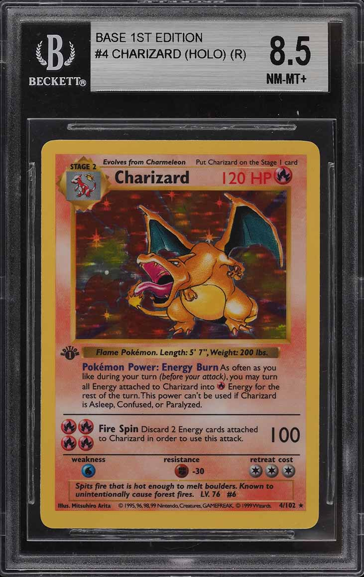 1999 Pokemon Game 1st Edition Holo Charizard #4 BGS 8.5 NM-MT+ - Image 1