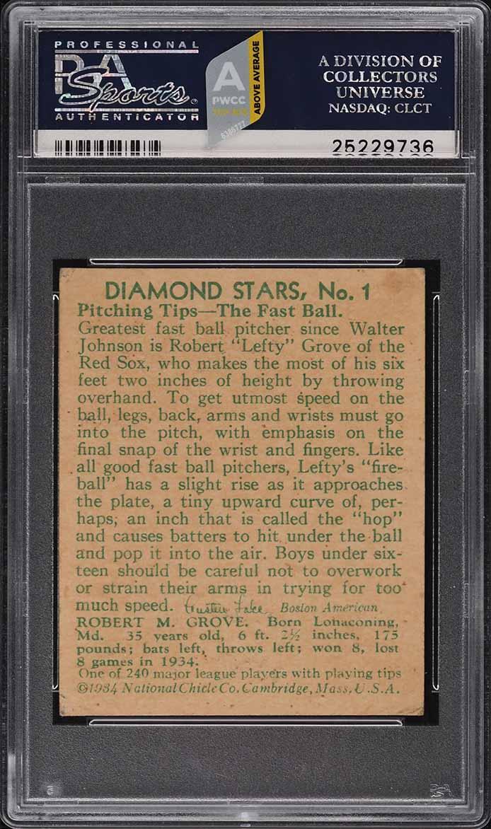 1935 Diamond Stars Lefty Grove #1 PSA 3.5 VG+ (PWCC-A) - Image 2