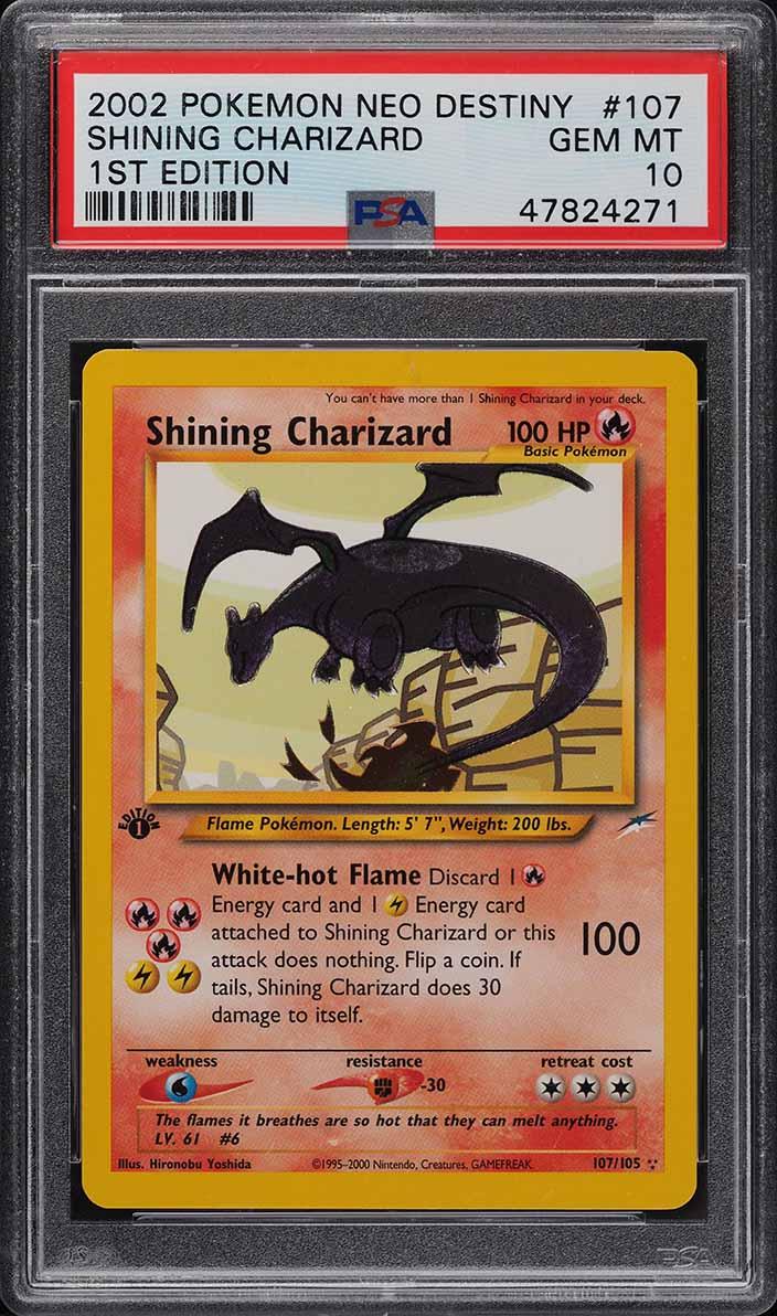 2002 Pokemon Neo Destiny 1st Edition Shining Charizard #107 PSA 10 GEM MINT - Image 1