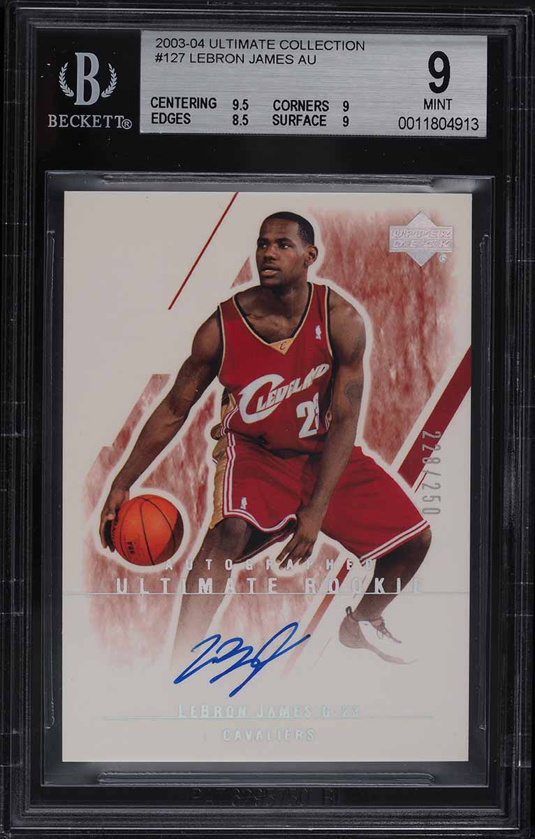2003 Ultimate Collection LeBron James ROOKIE RC AUTO /250 #127 BGS 9 MINT - Image 1