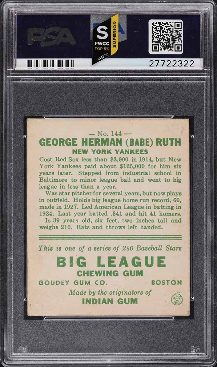 1933 Goudey Babe Ruth #144 PSA 2 GD (PWCC-S) - Image 2