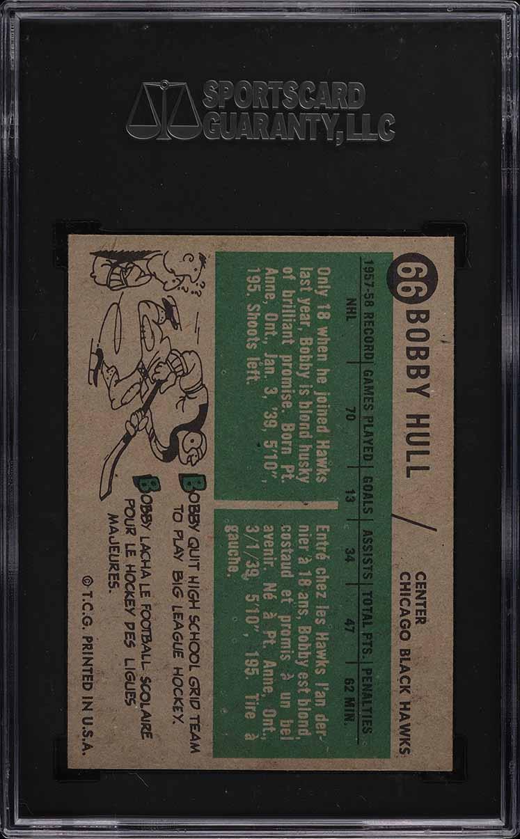 1958 Topps Hockey Bobby Hull ROOKIE RC #66 SGC 7.5 NRMT+ - Image 2