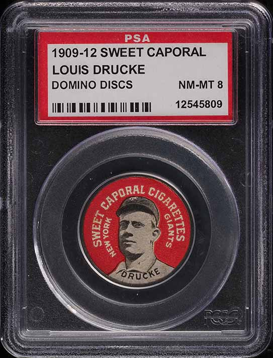 1909 Sweet Caporal Domino Discs Louis Drucke PSA 8 NM-MT - Image 1