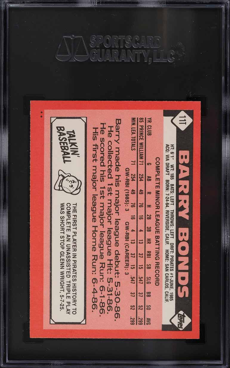 1986 Topps Traded Barry Bonds ROOKIE RC #11T SGC 9.5 MINT+ - Image 2